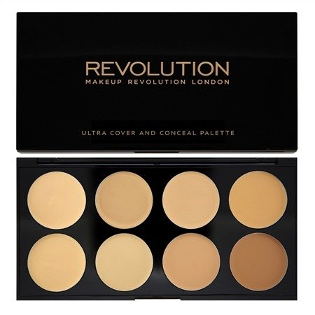 MAKEUP REVOLUTION ULTRA COVER & CONCEAL PALETTE LIGHT-MEDIUM PALETA 8 KREMOWYCH KOREKTORÓW